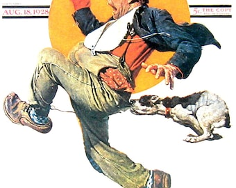 Hot Pursuit - 1976 Norman Rockwell Print - Saturday Evening Post Cover Reproduction - 14 x 10