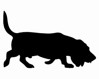 Basset Hound Dog v2 Silhouette Custom Die Cut Vinyl Decal Sticker - Choose your Color and Size