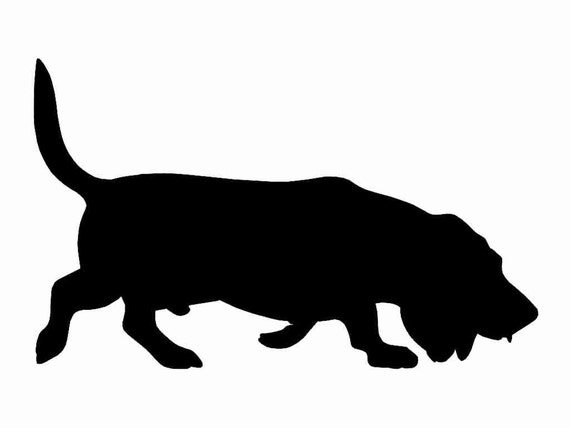 Basset Hound Dog v2 Silhouette Custom Die Cut Vinyl Decal