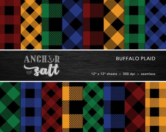 Buffalo Plaid Digital Paper Set -- Lumberjack, Flannel, Hipster, Western, Christmas, Scrapbook, Seamless -- Personal or Commercial Use