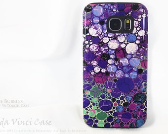 Purple Abstract Galaxy S6 Case - Grape Bubbles - TOUGH dual layer S 6 Case by Da Vinci Case