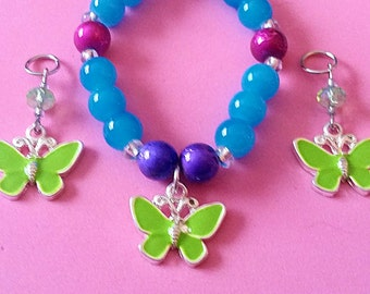 Beautiful Beaded Butterfly Bracelet (matching hearing aid charms available at a discounted bundle price)! 5 great colors to choose from!