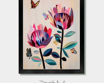 Mid Century Modern - Through They Eyes Of A Butterfly - Mid Century, Boho Wall, Seattle, Floral Decor, Oregon, Colorful Decor, San Francisco