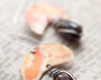 Raw garnet nugget earrings, sterling silver wire wrapped gemstone earrings with flame coloured copper crescent moons.