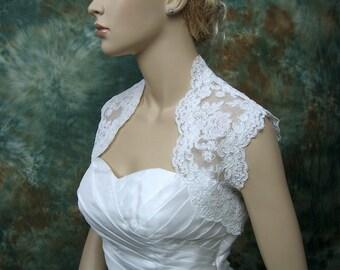 Wedding bolero, lace bolero, wedding jacket, bridal bolero, White lace bolero, sleeveless, alencon lace