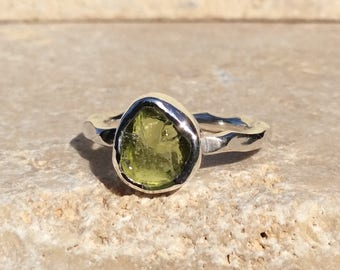 Raw Peridot Silver Ring, US 5.5, Raw Stone Ring, Peridot Ring, Rough Gemstone Ring, Natural Gemstone Silver Ring, August Birthstone Ring