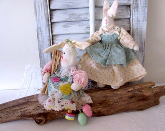 Easter  Bunny  , Rabbit , Shabby Chic Easter Bunny  -  Easter  Decoration - set of 2.