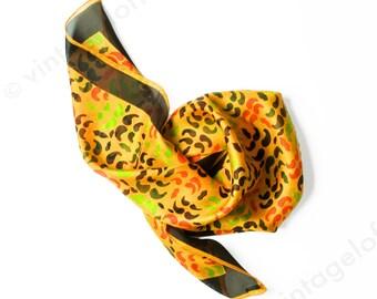 Vintage 1960s Deadstock Italian Mod Silk Scarf - Golden Yellow Orange - 60s Scarf