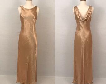 90s Gold Satin Maxi Party Dress