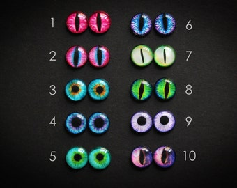 12mm GLASS EYES for dolls figurines polymer clay sculpture taxidermy dome eyes necklace ring earrings