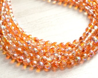 Alana - Apricot Peach Orange AB Glass Bridesmaid Statement Necklace