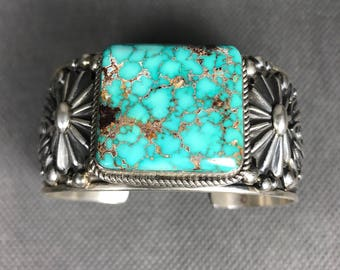 Albert Jake Gem Turquoise & Sterling Silver Navajo Cuff