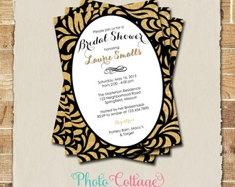 Bridal Shower Invitation, Glitter Gold Invitation, Black Invitations, Bridal Shower Invites, Black & Gold Invitation, BS139