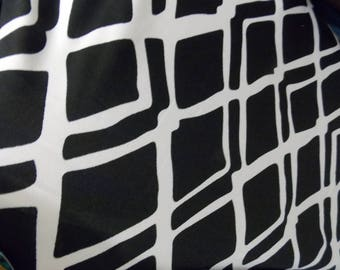 """SUPER SALE!!  1.50 per yard!  Black and White Block Abstract Geometric Knit Fabric 58"""" Wide By the Yard"""
