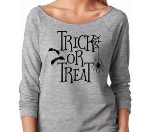 Slouchy Sweatshirt, Halloween Sweater, Trick Or Treat Sweatshirt, Halloween shirt, Trick-Or-Treat Lightweight 3/4 Sleeve Raw Edge Raglan