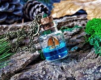 sail boat pendant glass bottle aquamarine coral pendant sea pendant glass pendant glass necklace ocean necklace