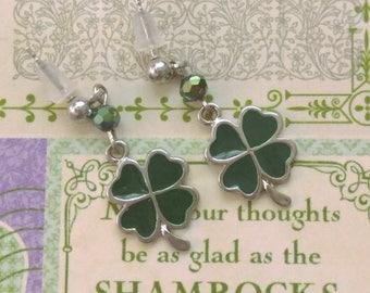 St. Patricks Day Earrings Shamrock Four Leaf Clover Stud Post Earrings St Patricks Jewelry Shamrock Four Leaf Clover Jewelry Celtic Jewelry