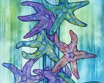 SEA STAR RAIN 8.5 x 11 print of watercolor starfish painting, beach house, children's fantasy baby nursery room, magical birthday ocean gift