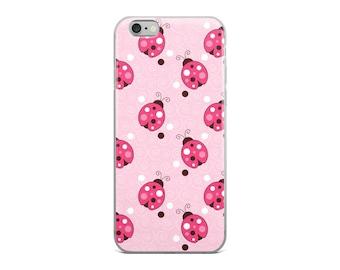 Pink Ladybug Trendy Ladybugs iPhone 5/5s/Se, 6/6s, 6/6s Plus Case for Women, Girls, Teens, Tweens