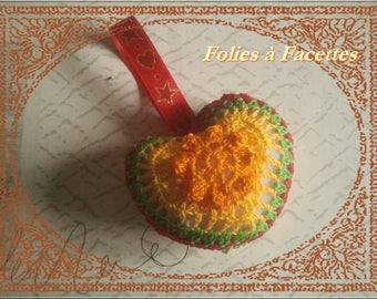 Orange flower heart hanging decoration crochet