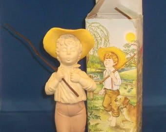 Catch a Fish Vintage Avon Sonnet Cologne Decanter, Boy Fishing Original Box