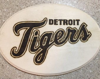 Detroit Tigers woodburned wall hanging plaque