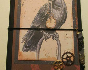 Raven clock travelers notebook  midori fauxbonichi hobonichi planner upcycled hardcover book with insert steampunk Halloween witch pagan