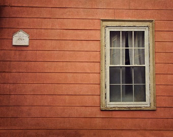 Salem Architecture Photography, Window Photograph, Old Rustic Historic Building, Stripes Lines Geometric, Dark Red, Maroon, Halloween Art