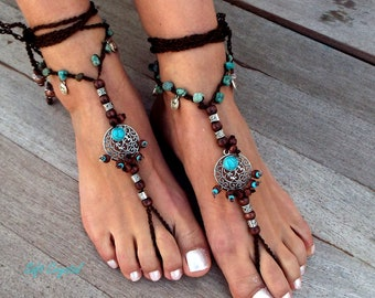 Barefoot Sandals,  Barefoot jewelry, Hippie Sandals , Foot Jewelry, Toe Thong, Turquoise anklet