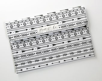 Diaper Clutch: Black & White Aztec Stripe - Aztec Diaper Clutch - Black and White Diaper Pouch - Monochrome Diaper Bag Organizer -Diaper Bag