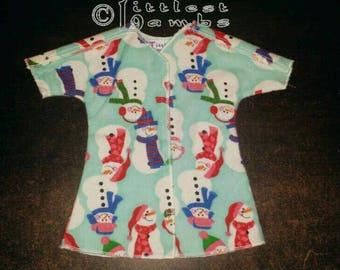 Micro Preemie Clothes, Preemie Christmas Pajamas, NICU Approved Gown, Premie Boy Clothing,  Aqua Snowmen,  Flannel Pyjamas, X-mas PJ's, SCBU