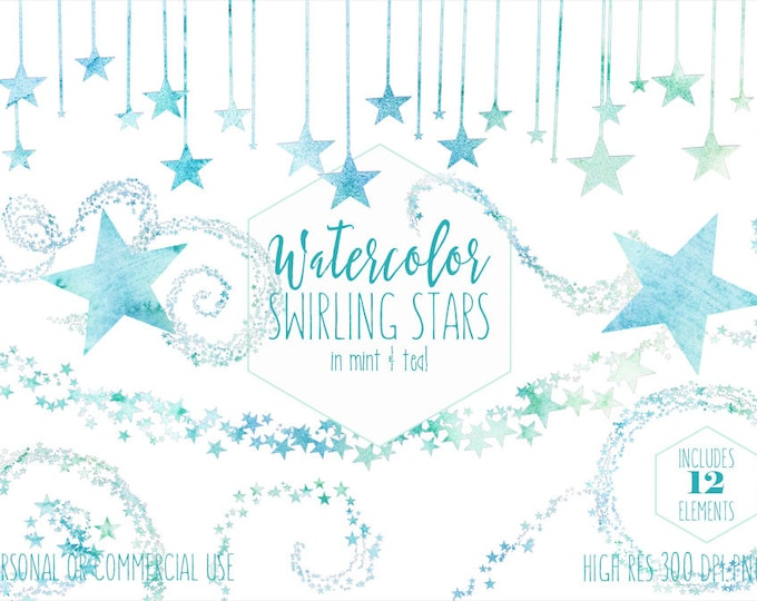 TEAL & MINT WATERCOLOR Star Clipart Commercial Use Clip Art Stars Graphics Twinkle Star Trail Confetti Celestial Night Sky Cute Baby Clipart