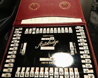 Vintage 30's autobridge game, leather cased, vintage games