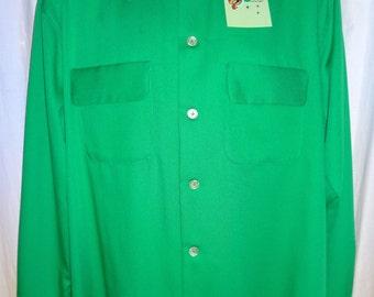 "Classic 1950's Reproduction Green Rockabilly Gabardine Shirt XL/50"""
