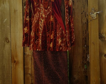 size small boho velvet stretchy top bell sleeve hippie gypsy 90's vintage ~ burgundy paisley festival tunic blouse bodycon