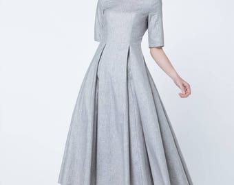 light grey dress, short sleeves dress, pleated dress, maxi dress, elegant dress, fit and flare dress, patch work dress, ladies dresses 1717