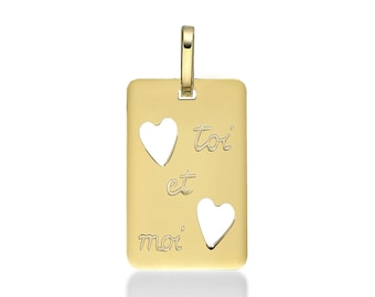 Pendant rectangle borders, 17 mm, solid yellow gold plated 18 k box included