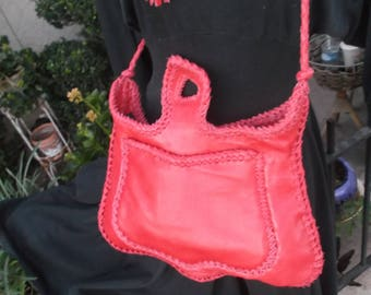 Hand Laced RED Leather fully lined in Black Leather Betty Boop Bag Purse Shoulder Crossbody Bag