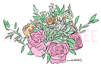 Custom Bridal Bouquet Print