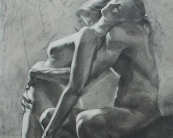 "Drawing of a Couple - ""Moment of Surrender"" - Large Archival Fine Art Print"