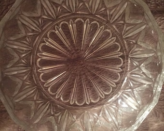 Vintage Medium Glass Bowl with X Design