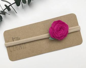Flower headband - baby girl and boy wool - Fuchsia