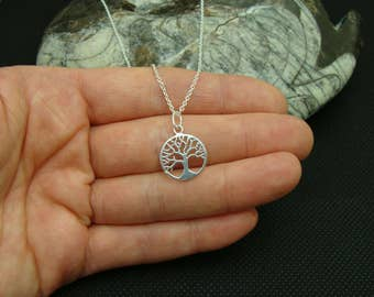 Sterling Silver necklace, Tree of Life Necklace, Sterling Silver Tree of Life pendant, 14mm Tree of Life charm, sterling silver charm