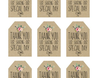 printable wedding favor tags, thank you printable tags, digital thank you tags, rustic thank you tags, rustic wedding tags, you print
