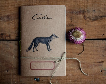 Red fox notebook, recycled paper diary, travel journal