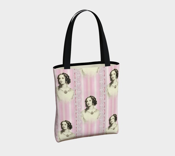beautiful canvas tote with with vintage Victorian pattern