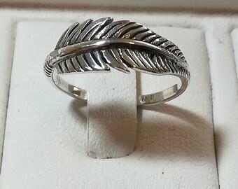 Silver Leaf Ring, Sterling Silver 925 Leaf Ring, Minimalist Ring, Boho Ring