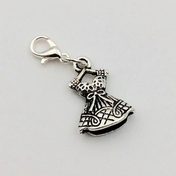 JW Charm, Dangle Pioneer Dress, European Style or Lobster Claw, Silver-tone.  Blue monkey velvet gift pouch