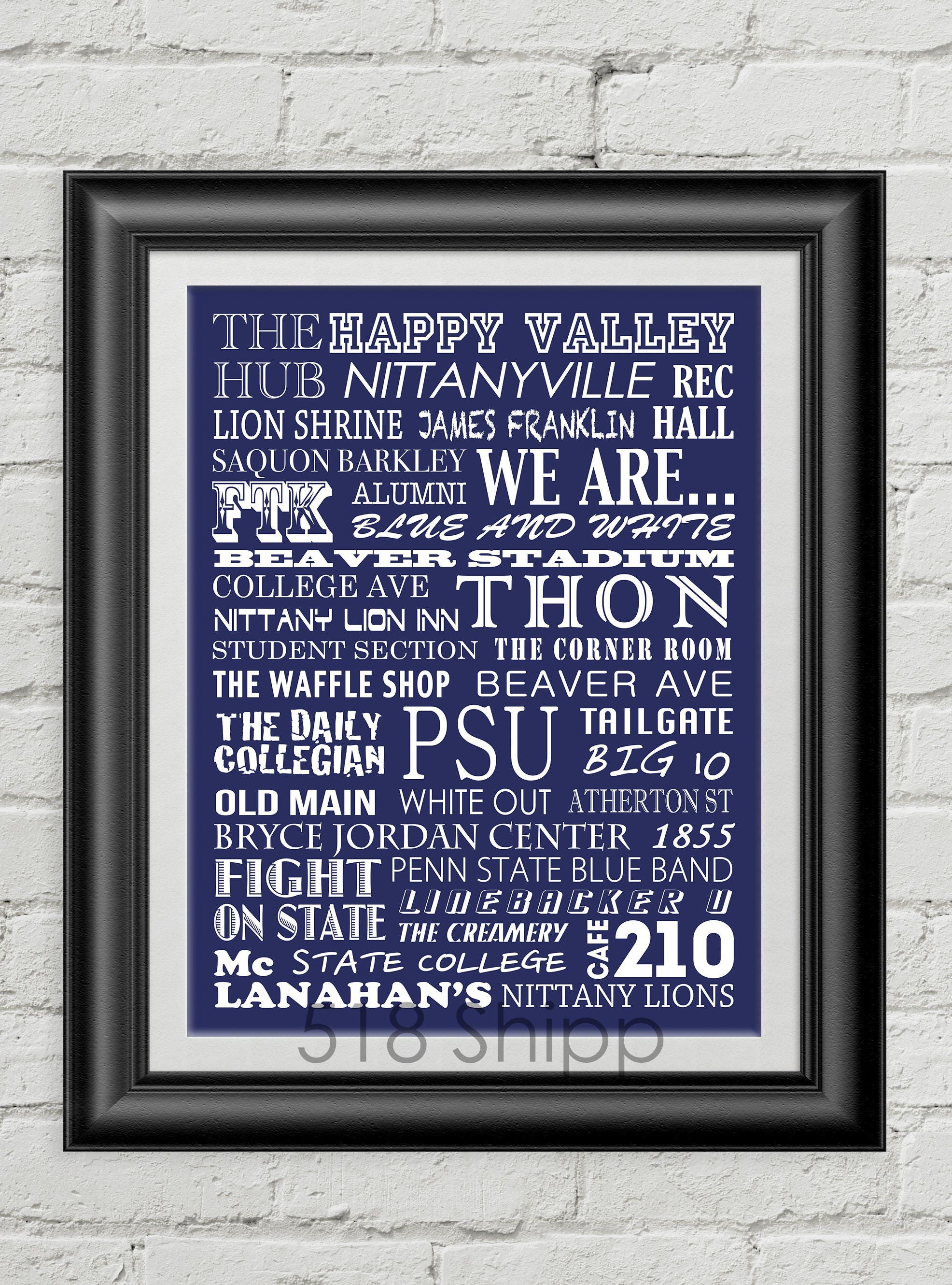 Penn State University Nittany Lions Subway Scroll Art Print