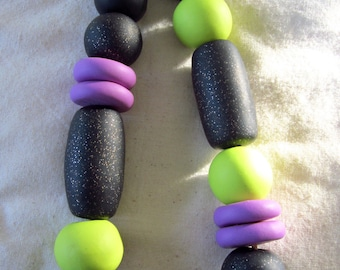Polymer clay necklace, Bright chunky bead necklace, lime green, sparkly black, Lavender, Glitter beads, Statement bead pendant, Gift for her